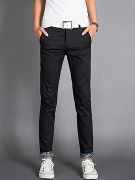 Men's Solid Color Washed Contrast Trim Casual Pants