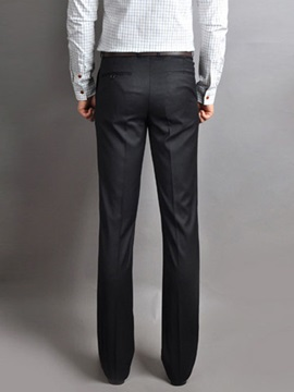 Men's Solid Color Slim Fit Straight Business Casual Pants