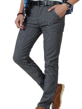 Straight Slim Fit Middle Waist Men's Casual Pants