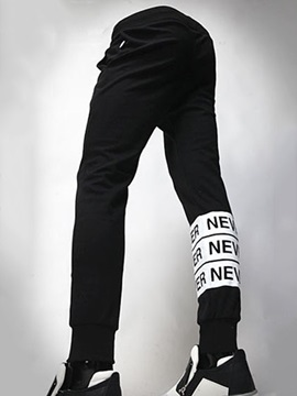 Letter Printed Lace Up Men's Casual Sports Pants