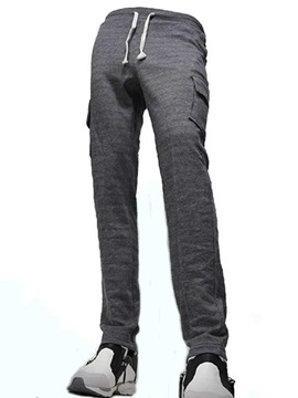 Solid Color Side Pockets Men's Lace Up Casual Pants