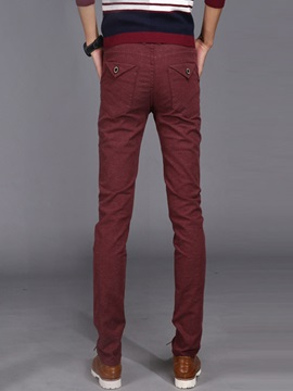 Solid Color Long Pattern Men's Casual Pencil Pants