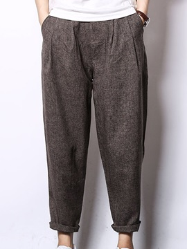Solid Color Loose Fit Ankle Length Men's Casual Pants