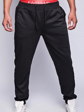 Solid Color Lace Up Loose Fit Men's Sports Pants