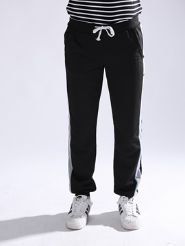 Color Block Lace-Up Men's Sports Casual Pants