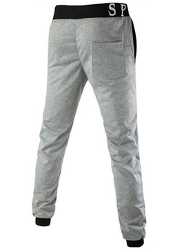 Letter Printed Lace-Up Men's Casual Pants
