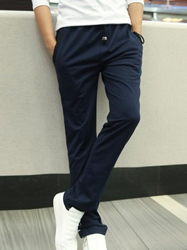 Lace-Up Color Block Straight Men's Sports Casual Pants