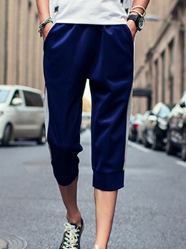 Lace-Up Casual Bold Stripe Men's Ankle-Length Pants