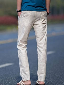 Solid Color Men's Lace-Up Waist Linen Pants