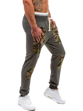 Camouflage Patch Lace-Up Men's Casual Pants