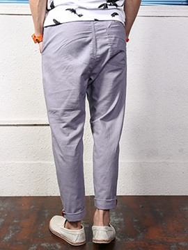 Relaxed Fit Plain Lace-Up Men's Causal Pants