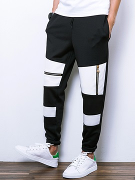 Lace-Up Patchwork Leg-Zipped Men's Casual Pants