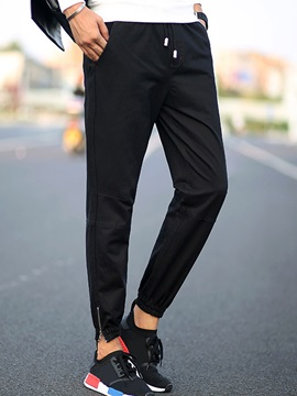 Lace-Up Solid Color Men's Ankle-Length Casual Pants
