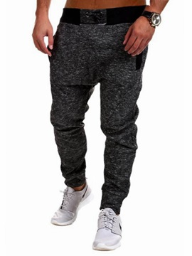 Lace-Up Solid Color Men's Casual Ankle-Length Pants