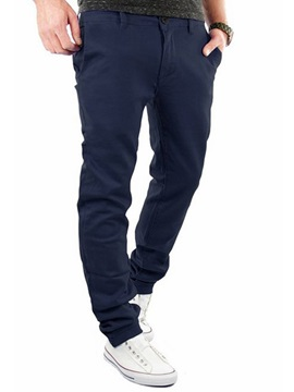 Zipper Loose Fit Men's Plain Causal Pants
