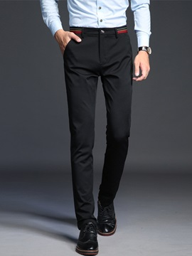 Mid-Waist Full Length Slim Men's Casual Pants