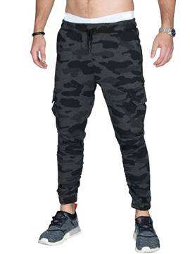 Tidebuy Plain Camo Lace-Up Men's Sports Casual Pants