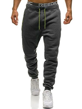 Plain Lace-Up Men's Casual Pants