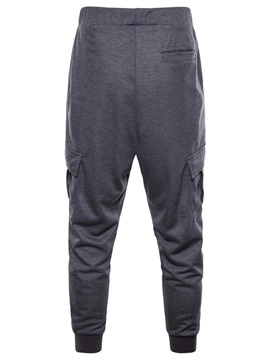 Hole Plain Lace-Up Men's Casual Sports Pants