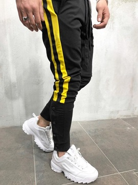 Button Designed Patchwork Lace-Up Men's Casual Sports Pants
