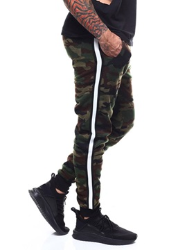 Camouflage Print Stripe Side Men's Casual Pants