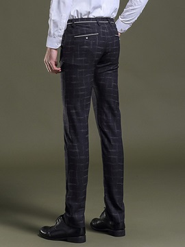 Plain Plaid Men's Casual Pants