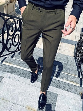 Button Ankle Length Straight Plain Men's Suit Trousers
