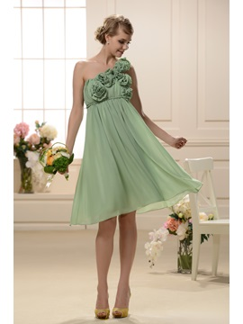 Charming A-Line Flowers One-Shoulder Knee-Length Bridesmaid/Homecoming Dress & Hot Sale Wedding Apparel under 100