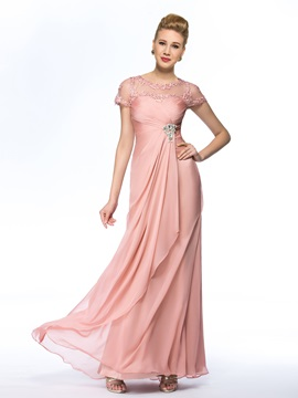 Eye-catching Jewel Neck Short Sleeves Chiffon Pink Long Mother of the Bride Dress & Hot Sale Wedding Apparel for less
