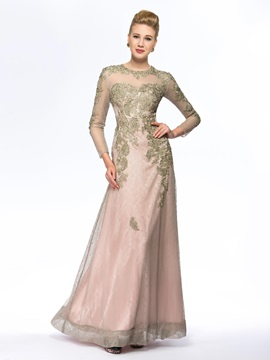 See-through Beaded Long Lace Mother of the Bride Dress with Sleeves & Hot Sale Wedding Apparel under 300