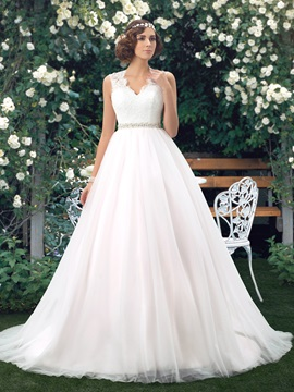 Eye-catching V-Neck Sheer Lace Back Floor Length A-Line Wedding Dress & fairy Hot Sale Wedding Apparel