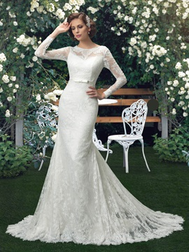 Eye-catching Scoop Neck Long Sleeve Lace Mermaid Wedding Dress & Hot Sale Wedding Apparel for sale