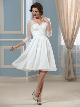 V-Neck 3/4 Sleeve Length Chiffon Knee-Length Short Wedding Dress & affordable Hot Sale Wedding Apparel