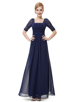 Floor Length A-Line Square Neck Lace Short Sleeve Mother of the Bride Dress & romantic Hot Sale Wedding Apparel