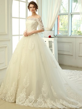 Charming Floor Length A-Line Lace Off the Shoulder Cathedral Wedding Dress & quality Hot Sale Wedding Apparel