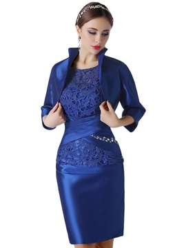 Scoop Lace Short Sleeves Knee-Length Mother Of the Bride Dress With Jacket/Shawl & Hot Sale Wedding Apparel from china