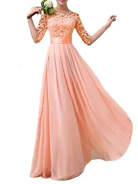 Pink Lace Half Sleeves Floor-Length Bridesmaid Dress & cheap Hot Sale Wedding Apparel