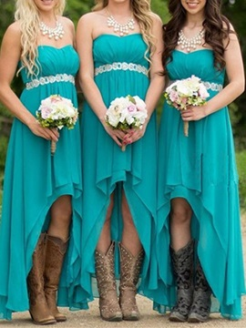 Hot Sale Sweetheart Beaded Waist High Low Bridesmaid Dress & unusual Hot Sale Wedding Apparel