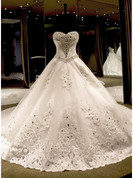 Sequined Appliques Beading Ball Gown Wedding Dress & informal Hot Sale Wedding Apparel