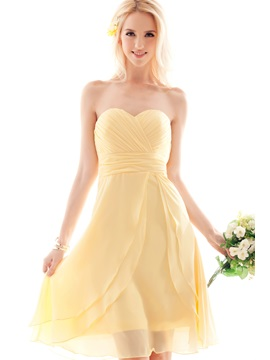 Sweet A-line Sweetheart Pleats Knee-length Nastye's Bridesmaid Dress & Hot Sale Wedding Apparel 2012