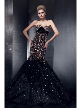 Luxurious Mermaid Sweetheart Sequins Flower Lace-up Floor-length Dasha's Pageant Dress