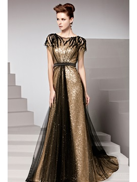 Charming Sequins Court Train Short Sleeves Floor-Length Evening Dress