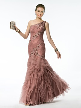 Classic Mermaid/Trumpet Floor-Length One-Shoulder Appliques&Beading Evening Dress & Hot Sale Evening Dresses for less