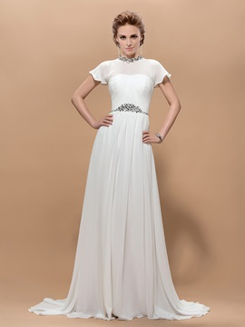 Elegant A-Line Jewel Neck Crystal Short Sleeves Floor Length Court Train Evening Dress