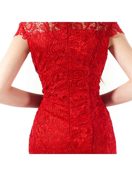 Short Sleeves High Neck Lace Ankle-Length Evening Dress