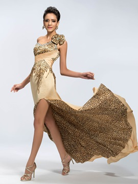 Sensual One-Shoulder A-Line Beading Leopard Print Split-Front Long Evening Dress & Hot Sale Evening Dresses 2012