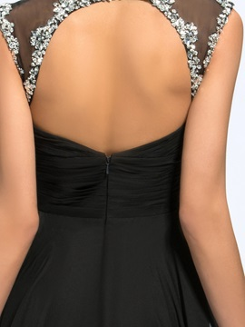 V-Neck Beading Split-Front Long Evening Dress