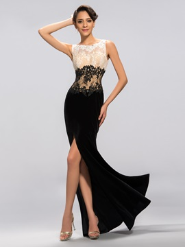 Velvet Appliques Sequins Split-Front Long Evening Dress Designed