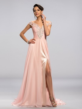 Off-the-Shoulder Sequins Beading Split-Front Long Evening Dress
