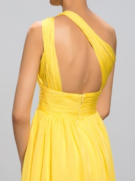 A-Line Pleats One-Shoulder Split-Front Evening Dress
